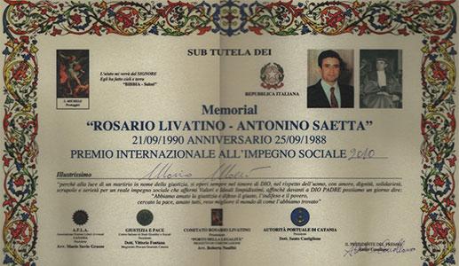 "Premio ""Rosario Livatino-Antonino Saetta"""