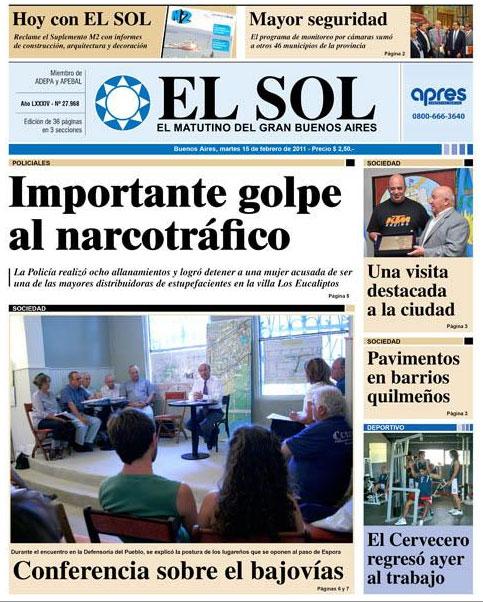 Mario Macrì in prima pagina sul quotidiano Diario el Sol